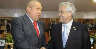 Hugo Chavez, the late Venezuelan president, with Chile's Sebastian Pinera at a summit in Caracas two years ago