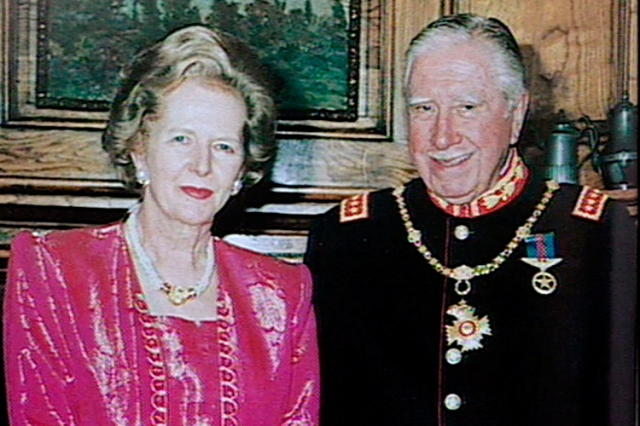 A Reuters photo of Thatcher and Pinochet at a reception in Santiago in March, 1994.