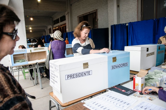 The scene at a voting site in Santiago's National Stadium. Photo by Rodrigo Lopez