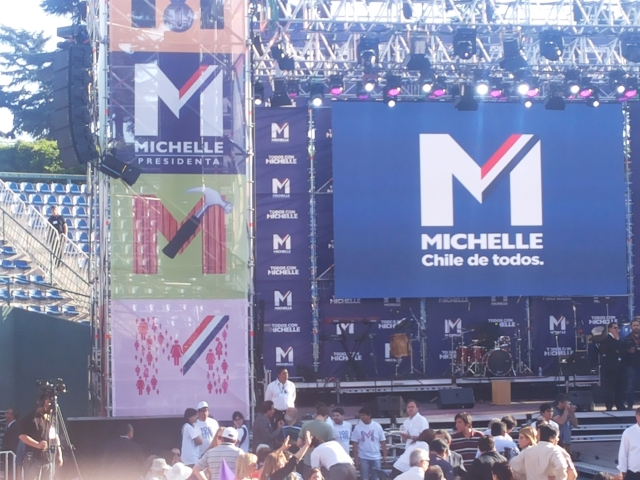 Preparations for a rally for Michelle Bachelet in Santiago. Photo by Odette Magnet